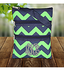 Navy and Lime Chevron Crossbody Bag #ZLM231-NAVY/LM