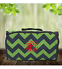 Navy and Lime Chevron Roll Up Cosmetic Bag #ZLM729-NAVY
