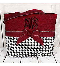 Houndstooth Quilted Diaper Bag with Burgundy Trim #ZSW2121-BURGUNDY