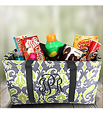 Gray and Green Ikat Large Collapsible Utility Tote #35649
