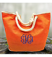 Orange Oceanside Jute Tote Bag #35766