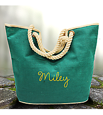 Teal Oceanside Jute Tote Bag #35768