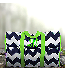 Navy and White Chevron Organizer Tote with Green Trim #35884