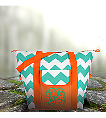 Sea Green Chevron with Orange Trim Convertible Cooler Bag #35903