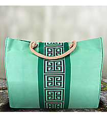 Mint Green Greek Key Classic Juco Bag #36464