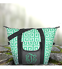 Sea Green and White Greek Key with Gray Trim Convertible Cooler Bag #36899