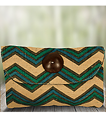 Natural, Blue, and Green Chevron Jute Clutch #35094