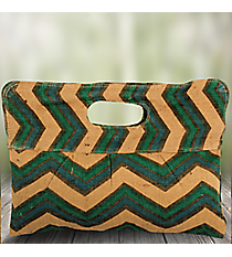 Natural, Blue, and Green Chevron Pleated Jute Clutch #35102