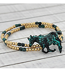 Goldtone and Antique Turquoise Horse Stretch Bracelet #AB7454-WGTQ