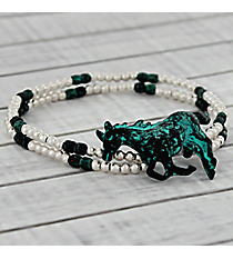Silvertone and Antique Turquoise Horse Stretch Bracelet #AB7454-WSTQ
