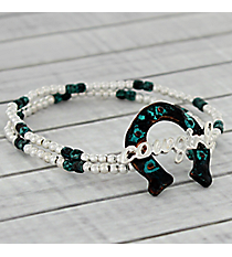 Silvertone and Antique Turquoise Cowgirl Horseshoe Stretch Bracelet #AB7455-WSTQ