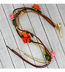 Brown Leather with Paper Flowers Hair Clip In #IH0090-GPO