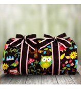 "21"" Quilted Owl Give a Hoot Duffle Bag  #WQL2626-BROWN"