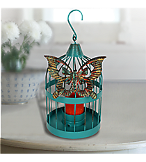 "6.5"" x 4"" Butterfly Accented Lantern Candle Holder #BSEB0301"
