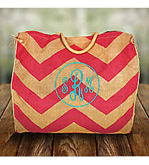 Hot Pink and Natural Chevron Oversize Jute Tote #35571