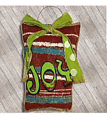 "16"" x 11"" Christmas Gift Box Burlap Plaque #AFSX2055"