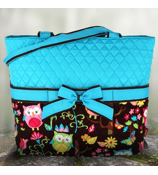 Quilted Owl Give a Hoot Diaper Bag With Turquoise #WQL2121-TURQ