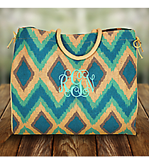 Turquoise, Aqua, and Gray Cailyn Everyday Jute Tote Bag #35577