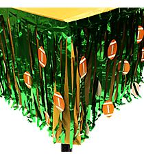 Metallic Table Skirt with Football Cutouts #3/7585