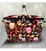 Owl Give a Hoot Collapsible Insulated Market Basket with Lid #WQL658-BROWN