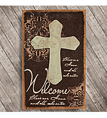 "20.25"" x 12"" Cross Accented Burlap Welcome Plaque #TFEY0045"