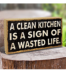 "4"" x 8"" ""Clean Kitchen"" Burlap Sign #BFEH0068"