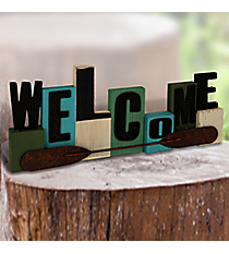 "5.5"" x 15.75"" Welcome Wooden and Metal Tabletop Decor #AFEQ0112-B"