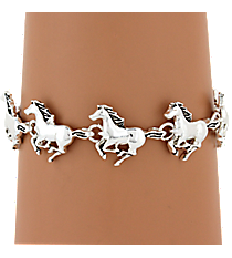 Silvertone Horse Magnetic Bracelet #AB5835-AS