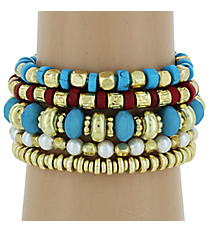 5-Piece Turquoise, Coral, and Goldtone Beaded Stretch Bracelet Set #AB6565-GTQC