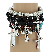 5-Piece Jet & Turquoise Beaded Cross Stretch Bracelet Set #AB6669-TTJ