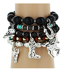 5 Piece Beaded Western Charm Bracelet Set #AB6671-TTJ