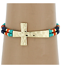 Hammered Cross Multi-Blue Seed Bead Stretch Bracelet #AB6712-GM