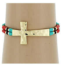 Hammered Cross Turquoise & Coral Seed Bead Stretch Bracelet #AB6712-GTQC