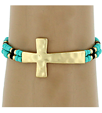 Hammered Cross Turquoise & Black Seed Bead Stretch Bracelet #AB6712-MGTQJ