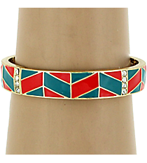 Turquoise and Coral Chevron Stretch Bracelet #AB6736-GTQC