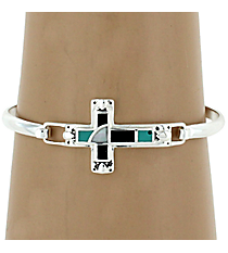 Silvertone, Turquoise and Black Cross Bangle Bracelet #AB6754-ASTQJ