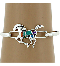 Silvertone Multicolor Horse Bangle Bracelet #AB6755-ASMX