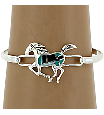 Silvertone Black and Turquoise Horse Bangle Bracelet #AB6755-ASTQJ