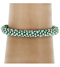 Silvertone and Turquoise Seed Bead Stackable Bracelet #AB6780-RHTQ
