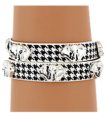 Silvertone Elephant and Houndstooth Leather Wrap Bracelet #AB7046-ASWJ
