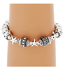 Iridescent Beaded Silvertone Starfish Stretch Bracelet #AB7152-ASC