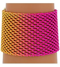 Fuchsia and Yellow Ombre Mesh Bracelet #AB7171-GP