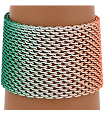 Turquoise and Coral Ombre Mesh Bracelet #AB7171-GTQC