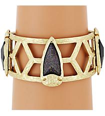 Wide Goldtone and Iridescent Jet Gem Stretch Bracelet #AB7212-WGJ