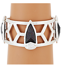 Wide Silvertone and Iridescent Jet Gem Stretch Bracelet #AB7212-WSJ