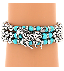 Turquoise and Silvertone Horse Wrap Bracelet #AB7219-ASTQ