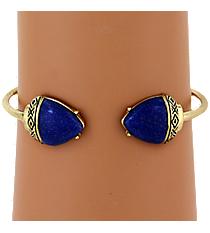 Goldtone and Iridescent Blue Gem Cuff Bracelet #AB7251-AGM