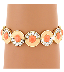 Peach and Crystal with Coral Stone Stretch Bracelet #AB7273-GPW