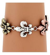 Burnished Tri-Tone Fleur De Lis Magnetic Bracelet #AB7278-B3T
