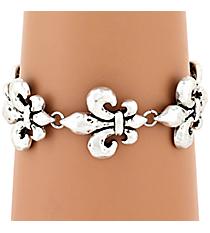 Burnished Silvertone Fleur De Lis Magnetic Bracelet #AB7278-SB